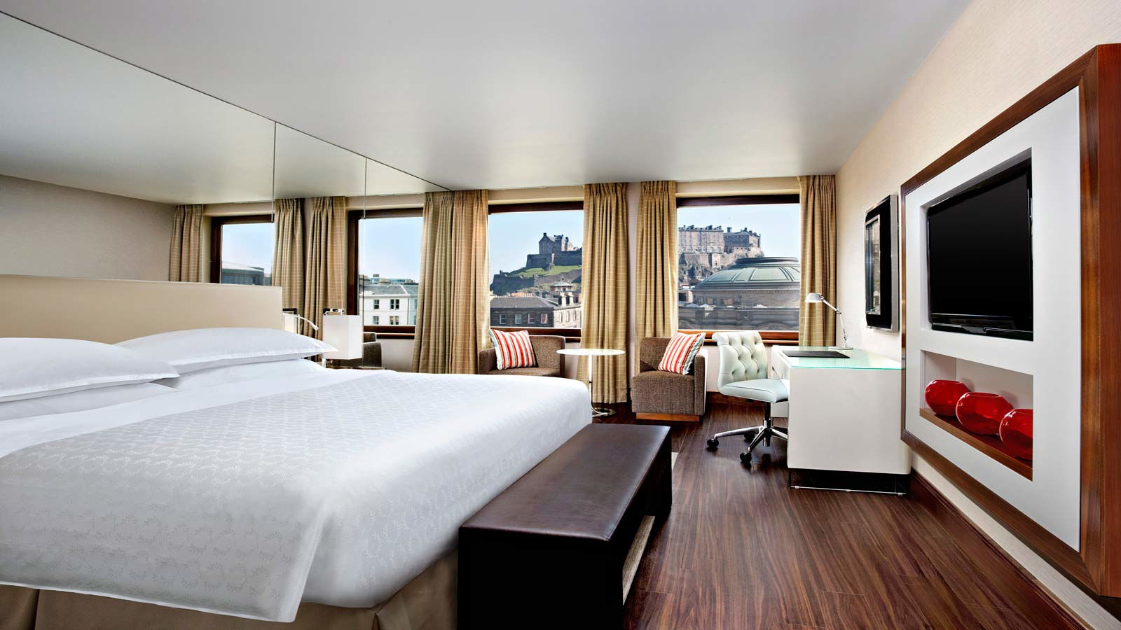 Luxurious hotel room with views of Edinburgh Castle